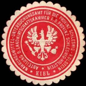 Nahrungsmittel - Untersuchungsamt für die Provinz Schleswig - Holstein - Kiel - Abteilung der Landwirtschaftskammer für die Provintz Schleswig - Holstein