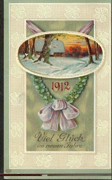 Viel Glück im neuen Jahr 1912. Litho und Prägedruck.