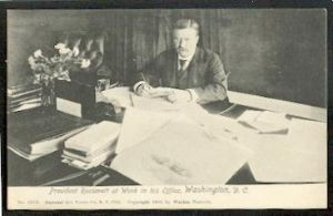 President Roosvelt at Work in his Office, Washington D.C.1903.