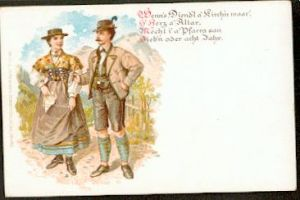 Mann und Frau in Tracht+ Gedicht. Litho.