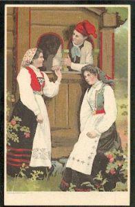 Zwei Frauen und ein Mann in Tracht. Litho.
