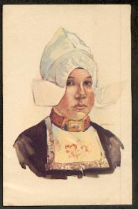 Porträit einer Frau in Tracht.
