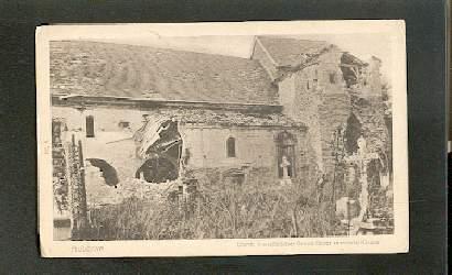 Auberive. Durch französisches Granatfeuer zerstörte Kirche.