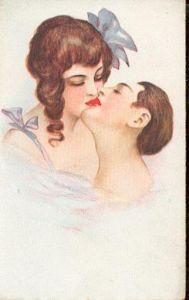 Kuss. Künstlerkarte ohne Sign.
