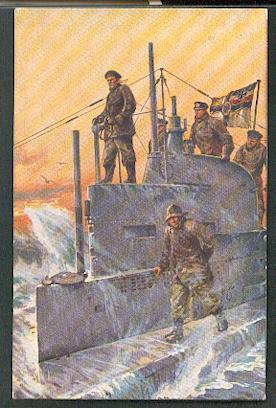 U Boot Spende 1917. Auf dem Kommandoturm eines U Bootes.