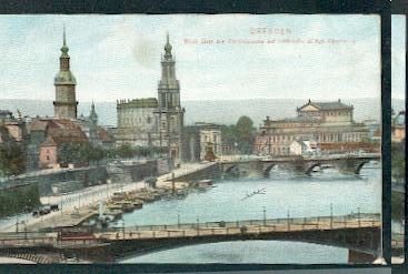 Dresden. Blick über die Carolabrücke auf Hofkirche und Kgl. Opernhaus.