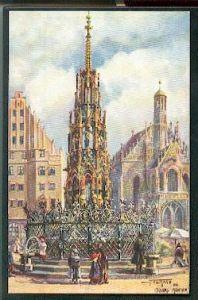 Nürnberg. Schöner Brunnen und Frauenkirche.