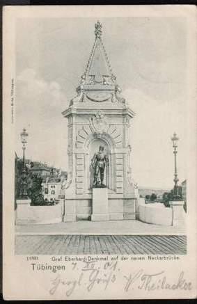 Tübingen. Graf Eberhard Denkmal auf der neuen Neckarbrücke