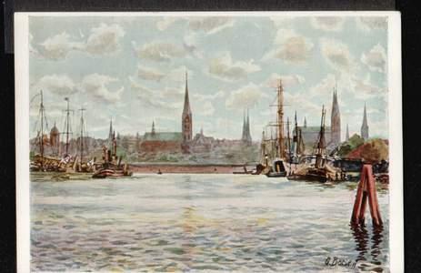 Lübeck. Einfahrt in den Hafen