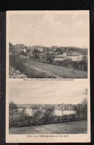 Ratzeburg. Blick vom Mühlengraben auf Krankenhauspartie.