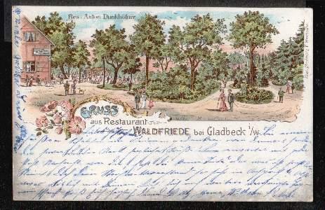 Gladbeck. Gruss aus Restaurant Waldfriede