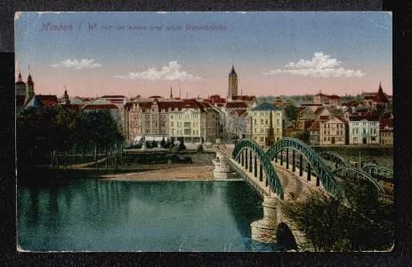Minden in Westfalen. mit der neuen und alten Weserbrücke
