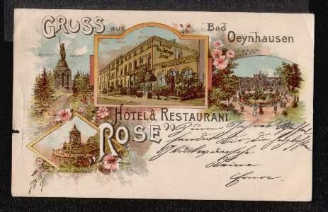 Bad Oeynhausen. Gruss aus. Hotel Restaurant Rose
