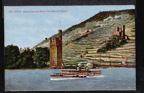 Der Rhein. Mäuseturm und Ruine Ehrenfels bei Bingen
