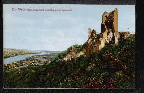 Der Rhein. Ruine Drachenfels mit Blick auf Königswinter