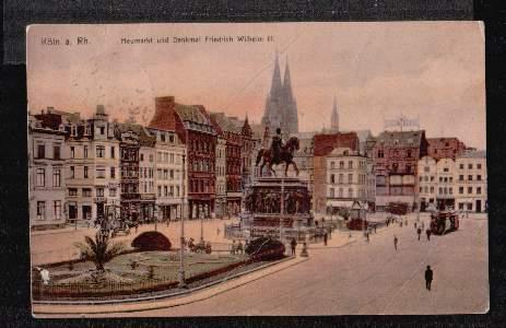 Köln. Heumarkt und Denkmal Friedrich Wilhelm III