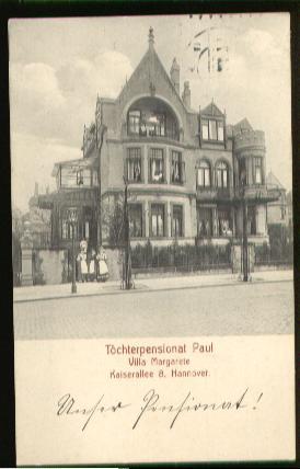 Hannover. Töchterpensionat Paul, Villa Margarethe