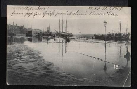 Kiel. Die Sturmflut am 31 Dezember 1904, Kaistrasse