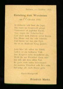 Berlin. Einladung zum Wurstessen am 21. Oktober 1905