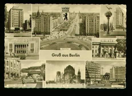 Berlin. Gruss aus Berlin. Hochhaus, Stalinallee, Haus Berlin