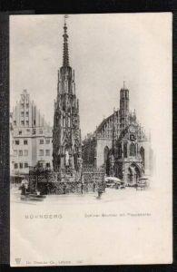 Nürnberg. Schöner Brunnen mit Frauenkirche