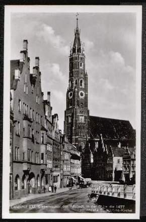 Landshut. Giebelhäuser der Altstadt, in der .
