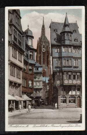 Frankfurt. Durchblick v. Römerberg auf den Dom