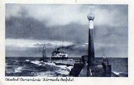 0 Ostseebad Warnemünde. Stürmische Ausfahrt.