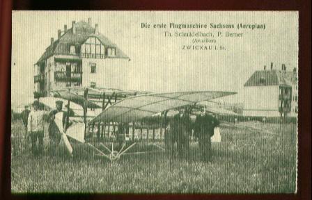 x00016; Die erste Flugmaschine Sachsens (Aeroplan).Reprint.