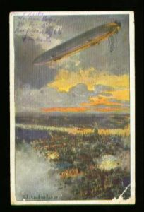 x00119; Zeppelin über Antwerpen. Deutscher Luftflotten Verein.