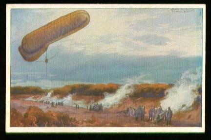 x00257; Fesselballon, unsere Artilleriewirkung beobachtend.