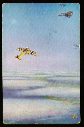x00424; Deutsche Fliegerkarten. Unteroffizier Böhme greift 3 feindlicher Flieger an,.