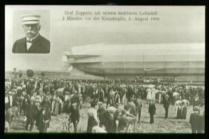 x00441; Graf Zeppelin mit seinem lenkbarem Luftschiff 2 Min. vor de Katastrophe, 5Aug.1908. (Reprint).