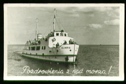 x00647; Olimpia. Pozdrowienie z nad morza.
