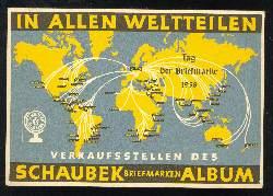 x03588; In allen Weltteilen Schaubek Briefmarken Album.