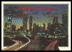 x06423; Atlanta. Georgia. As the sun goes down the lights come on in Georgia.