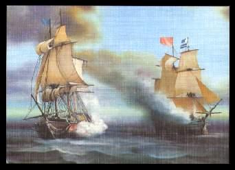 x11159 ; Seegefecht nach einem Gemälde von H. Rhode.