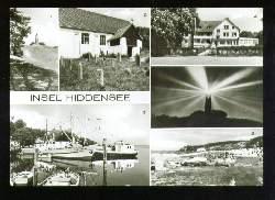 x11710; Insel Hiddensee: Leuchtturm, Kirche, Hafen, FDGB. Erholungsheim ,Hitthim, Der Leuchtturm bei Nacht, Strand.