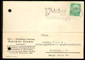 x12794; Nürnberg. Firmenkarte. Gebrüder Decker. Keine AK.