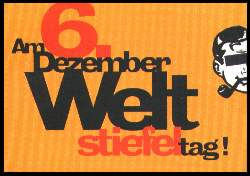 x12981; Am 6. Dezember Welt stiefel tag!.