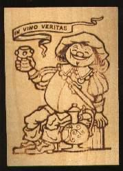 x13090; In vino veritas. Holzkarte.