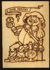 x13091; In vino veritas. Holzkarte.