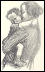 x14001; Mutter mit Kind. Künstler Kathe Kollwitz.