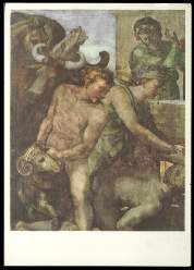 x14283; MICHELANGELO BUONARROTI (14751504). Figurengruppe mit Opfertieren aus dem Dankopfer Noahs.