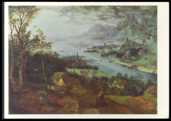 x14286; PIETER BRUEGEL D. Ä. (15251569). Flusslandschaft mit einem Sämann.