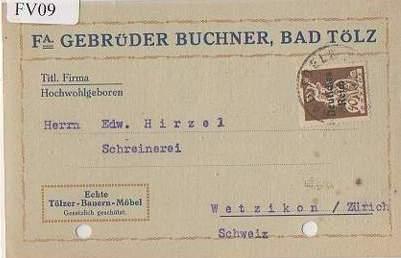 x15609; Firmenkarten; Bad Tölz. Fa.Gebrüder Buchner. Echte Tölzer Bauern Möbel