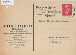 x15670; Firmenkarten; Hamburg. Otto:H.F.Neumann. Möbelfabrik. Polierte Schlafzimmer
