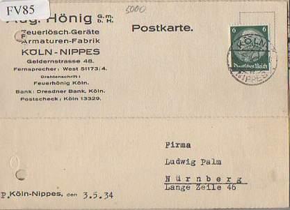 x15685; Firmenkarten; Köln Nippes. Aug.Hönig GmbH.. Feuerlöschgeräte, Armaturen Fabrik