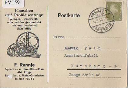 x15759; Firmenkarten; Frankfurt a. M. Griesheim. F. Rannje Apparate ...