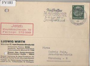 x15781; Firmenkarten; München 13. Ludwig Wirth General Vertretung für Dampf Armaturen